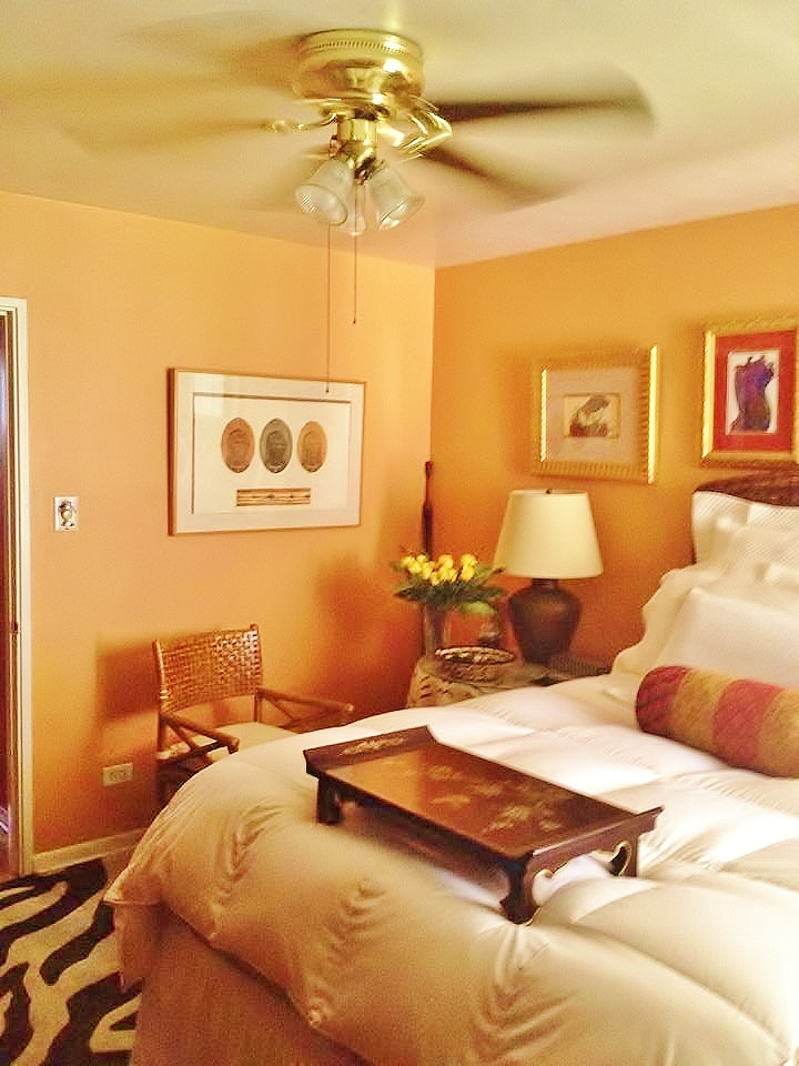 Create a peaceful, serene, and dreamy bedroom by using an earthy, warm wall color.