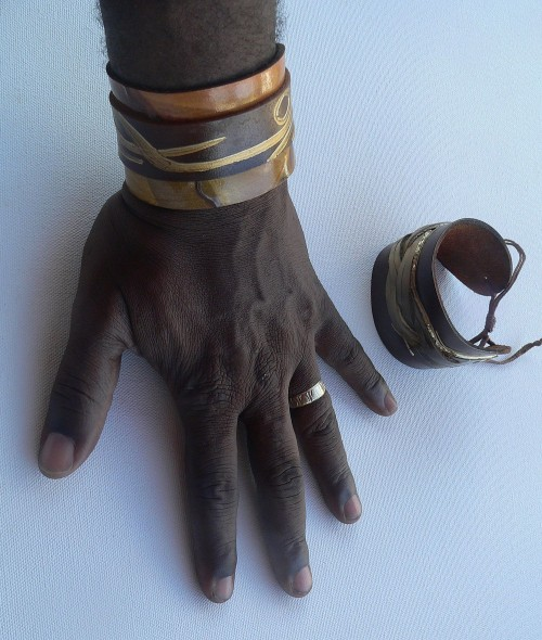 Hand painted leather jewelry